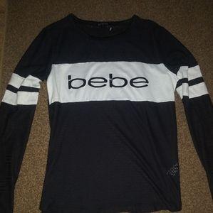 Nwot Bebe logo mesh jersey top